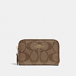 COACH F78005 Zip Around Coin Case In Signature Canvas IM/KHAKI SADDLE 2