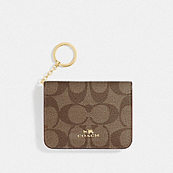 COACH F78006 Bifold Card Case In Signature Canvas KHAKI/CHALK/GOLD