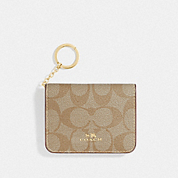 COACH F78006 Bifold Card Case In Signature Canvas LIGHT KHAKI/ROUGE/GOLD