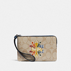 COACH F78009 Corner Zip Wristlet In Signature Canvas With Coach Radial Rainbow LIGHT KHAKI/DENIM MULTI/SILVER