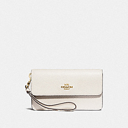 COACH F78010 - FOLDOVER WRISTLET WITH SIGNATURE CANVAS DETAIL KHAKI/CHALK MULTI/GOLD