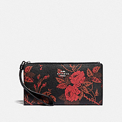 COACH F78013 - LONG WALLET WITH THORN ROSES PRINT BLACK RED MULTI/SILVER