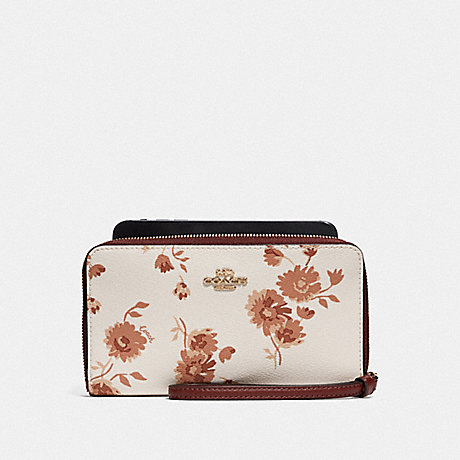 COACH F78015 LARGE PHONE WALLET WITH PRAIRIE DAISY CLUSTER PRINT CHALK MULTI/IMITATION GOLD
