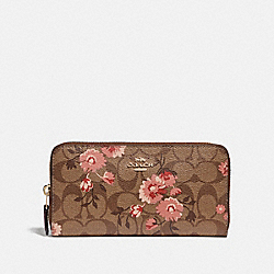 COACH F78018 Accordion Zip Wallet In Signature Canvas With Prairie Daisy Cluster Print KHAKI CORAL MULTI/IMITATION GOLD