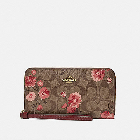 COACH F78021 LARGE PHONE WALLET IN SIGNATURE CANVAS WITH PRAIRIE DAISY CLUSTER PRINT KHAKI CORAL MULTI/IMITATION GOLD