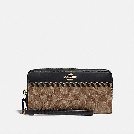 COACH ACCORDION ZIP WALLET IN SIGNATURE CANVAS WITH WHIPSTITCH - KHAKI/BLACK/IMITATION GOLD - F78023