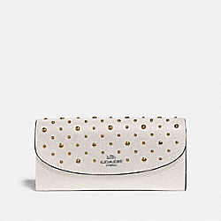 COACH F78024 Slim Envelope Wallet With Rivets CHALK/SILVER