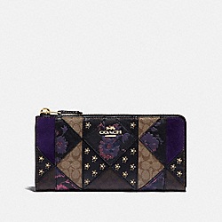 COACH F78032IMA47 - L-ZIP WALLET IN SIGNATURE PATCHWORK IM/BLACK MULTI