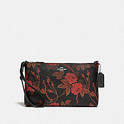 COACH F78035 Large Wristlet 25 With Thorn Roses Print BLACK RED MULTI/SILVER
