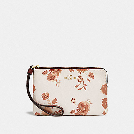 COACH F78037 CORNER ZIP WRISTLET WITH PRAIRIE DAISY CLUSTER PRINT CHALK MULTI/IMITATION GOLD