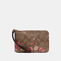 COACH F78045 Corner Zip Wristlet In Signature Canvas With Prairie Daisy Cluster Print KHAKI CORAL MULTI/IMITATION GOLD
