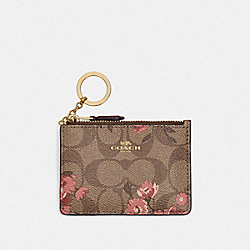 COACH F78047 Mini Skinny Id Case In Signature Canvas With Prairie Daisy Cluster Print KHAKI CORAL MULTI/IMITATION GOLD