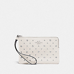 COACH F78050 - CORNER ZIP WRISTLET WITH RIVETS CHALK/SILVER