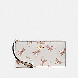COACH F78071 Long Wallet With Dragonfly Print IM/CHALK MULTI