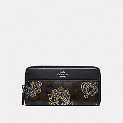 COACH F78075 - ACCORDION ZIP WALLET IN SIGNATURE CANVAS WITH TULIP PRINT SV/CHESTNUT METALLIC