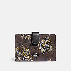 COACH F78077 - MEDIUM CORNER ZIP WALLET IN SIGNATURE CANVAS WITH TULIP PRINT SV/CHESTNUT METALLIC