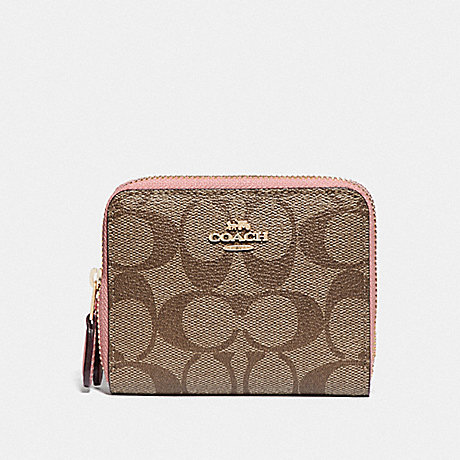 COACH F78079 SMALL DOUBLE ZIP AROUND WALLET IN BLOCKED SIGNATURE CANVAS IM/KHAKI PINK PETAL