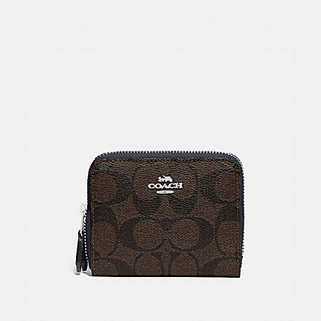 COACH F78079 SMALL DOUBLE ZIP AROUND WALLET IN BLOCKED SIGNATURE CANVAS SV/BROWN MIDNIGHT