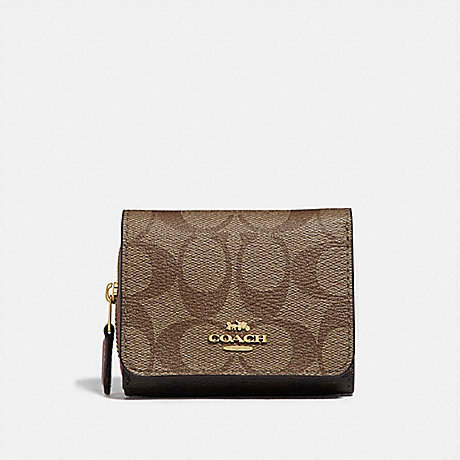 COACH F78081 SMALL TRIFOLD WALLET IN BLOCKED SIGNATURE CANVAS IM/KHAKI PINK PETAL