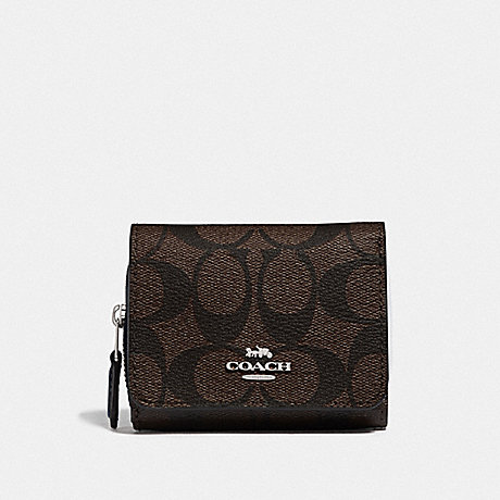 COACH F78081 SMALL TRIFOLD WALLET IN BLOCKED SIGNATURE CANVAS SV/BROWN MIDNIGHT