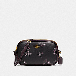 COACH F78087 Crossbody Pouch With Ribbon Bouquet Print IM/BLACK PINK MULTI
