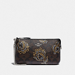 LARGE WRISTLET IN SIGNATURE CANVAS WITH TULIP PRINT - F78092 - SV/CHESTNUT METALLIC