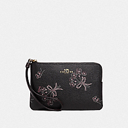 COACH F78093 Corner Zip Wristlet With Ribbon Bouquet Print IM/BLACK PINK MULTI