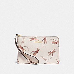 COACH F78096 - CORNER ZIP WRISTLET WITH DRAGONFLY PRINT IM/CHALK MULTI