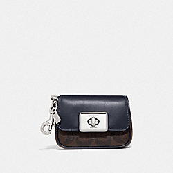 COACH F78098 Mini Cassidy Coin Case In Blocked Signature Canvas SV/BROWN MIDNIGHT