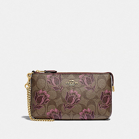 COACH F78112 LARGE WRISTLET IN SIGNATURE CANVAS WITH DESERT TULIP PRINT IM/KHAKI PINK MULTI