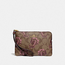 COACH F78113 - CORNER ZIP WRISTLET IN SIGNATURE CANVAS WITH DESERT TULIP PRINT IM/KHAKI PINK MULTI