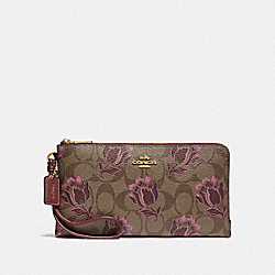 COACH F78116 Double Zip Wallet In Signature Canvas With Desert Tulip Print IM/KHAKI PINK MULTI
