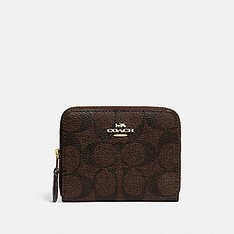 COACH F78144 SMALL DOUBLE ZIP AROUND WALLET IN SIGNATURE CANVAS BROWN/BLACK/GOLD