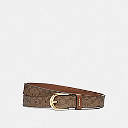 CLASSIC BELT IN SIGNATURE CANVAS - F78179 - KHAKI/SADDLE/GOLD