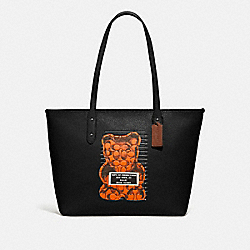 CITY ZIP TOTE WITH VANDAL GUMMY - F78203 - BLACK MULTI/BLACK ANTIQUE NICKEL