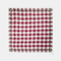 COACH F78223 Buffalo Plaid Print Oversized Square Scarf STRAWBERRY