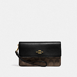 COACH F78229 - FOLDOVER WRISTLET IN SIGNATURE CANVAS BROWN/BLACK/GOLD