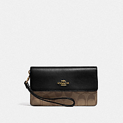 FOLDOVER WRISTLET IN SIGNATURE CANVAS - F78229 - KHAKI/BLACK/IMITATION GOLD