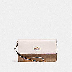 COACH F78229 - FOLDOVER WRISTLET IN SIGNATURE CANVAS KHAKI/CHALK/GOLD
