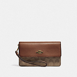COACH F78229 - FOLDOVER WRISTLET IN SIGNATURE CANVAS KHAKI/SADDLE 2/GOLD