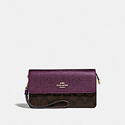 COACH F78229 - FOLDOVER WRISTLET IN SIGNATURE CANVAS IM/BROWN METALLIC BERRY