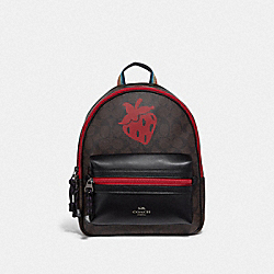 MEDIUM CHARLIE BACKPACK IN SIGNATURE CANVAS WITH STRAWBERRY MOTIF - F78252 - QB/BROWN BLACK MULTI