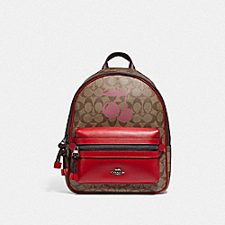 MEDIUM CHARLIE BACKPACK IN SIGNATURE CANVAS WITH CHERRY MOTIF - F78254 - QB/KHAKI MULTI