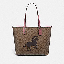 REVERSIBLE CITY TOTE IN SIGNATURE CANVAS WITH UNICORN MOTIF - F78256 - QB/KHAKI MULTI