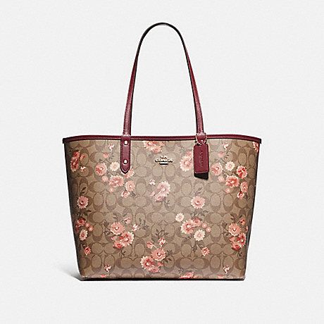 COACH F78279 REVERSIBLE CITY TOTE IN SIGNATURE CANVAS WITH PRAIRIE DAISY CLUSTER PRINT KHAKI CORAL MULTI/WINE/IMITATION GOLD