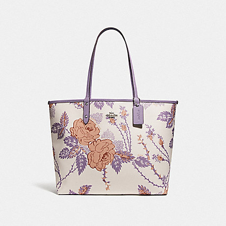 COACH F78281 REVERSIBLE CITY TOTE WITH THORN ROSES PRINT CHALK PURPLE MULTI/LILAC/SILVER