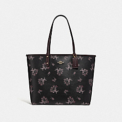 COACH F78283 - REVERSIBLE CITY TOTE WITH RIBBON BOUQUET PRINT IM/BLACK PINK MULTI/OXBLOOD