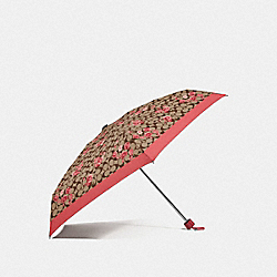 COACH F78284 Mini Umbrella In Signature Prairie Daisy Cluster Print KHAKI/CORAL/GOLD