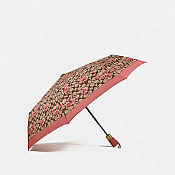 COACH F78285 Umbrella In Signature Prairie Daisy Cluster Print KHAKI/CORAL/GOLD