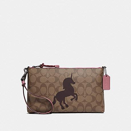 COACH F78303 LARGE WRISTLET 25 IN SIGNATURE CANVAS WITH UNICORN MOTIF QB/KHAKI MULTI